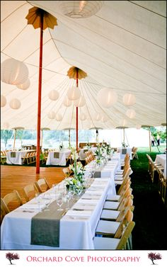 tent wedding rectangle tables, white tableclothes burlap runners
