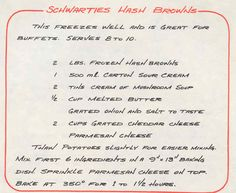 Schwartzies: My MOST Favourite! I don't add butter but I do add 4 Tb Cup) dried onion instead of the fresh! To finish: a sprinkle of Paprika! Easy Brunch Recipes, Appetizer Recipes, Breakfast Recipes, Party Appetizers, Brunch Ideas, Breakfast Ideas, Easy Recipes, Potato Dishes, Potato Recipes
