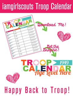 This leader from California has put together many resources, including a Troop Calendar printable