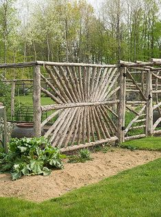 """addition to an orchard, the property has a vegetable garden / from OKL """"Home Tour: Edie Parker Founder Brett Heyman's Connecticut Escape"""" / interior design by Mark Cunningham Garden Doors, Garden Fencing, Bamboo Fencing, Bamboo Hedge, Wood Fences, Brick Fence, Metal Fence, Rustic Gardens, Outdoor Gardens"""
