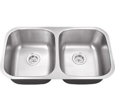 """View the Schon SC505018 29-1/2"""" Double Basin Stainless Steel Undermount Kitchen Sink with 50/50 Split - Includes Sink Racks and Basket Strainers at Build.com."""