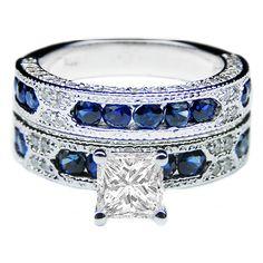 Princess vintage engagement ring  blue accents