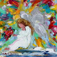 Angel on Cloud Nine with Flowers painting by Karensfineart on Etsy