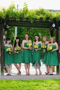 Rustic elegant vineyard wedding. Greens and yellows. Photographed by D Park Photography.