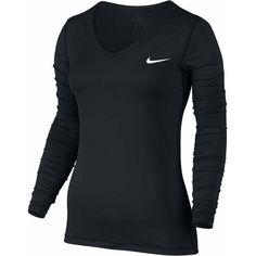 Nike Long Sleeve V Neck T-Shirt ($35) ❤ liked on Polyvore featuring tops, t-shirts, long sleeve v neck top, nike, long sleeve t shirts, long sleeve v neck t shirts and v-neck tee