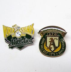 2 Vintage Athletics Pins, Gold Tone / Silver Tone and Enamel / Lapel Pin / Hat Pin - Collectible Pins - Baseball Pins by VINTAGEandMOREshop on Etsy https://www.etsy.com/listing/247607553/2-vintage-athletics-pins-gold-tone