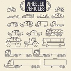 Illustration of Wheeled vehicles. Transport outline icons set vector art, clipart and stock vectors. Car Drawing Kids, Doodle People, Architect Drawing, Sternum Tattoo, Truck Art, Information Graphics, Car Drawings, Car Wheels, Pictogram