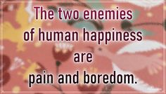 """""""The two enemies of human happiness are pain and boredom."""" – Arthur Schopenhauer #aylake #happiness #quotes #happinessquotes Happiness Quotes, Happy Quotes, Enemies, Everything, Two By Two, Universe, Luck Quotes, Funny Qoutes, Cosmos"""