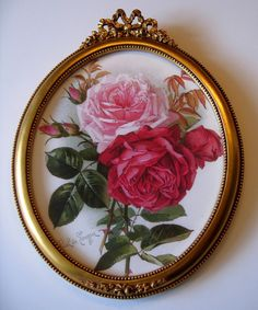 Paul de Longpre Roses in Vintage French Barbola Frame.  Buy now at Victorian Rose Prints on etsy.com