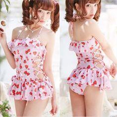 Kawaii strawberry falbala one-piece swimsuit SE10239 Coupon code cutekawaii for 10% off