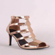 Anne Michelle Metallic Patent Caged Cutout Peep Toe Stiletto Heel