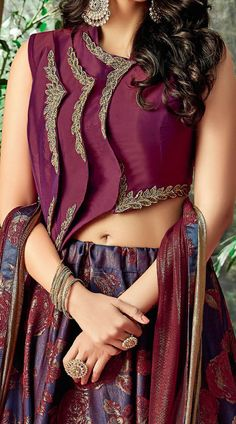 Pretty Purple Silk Sleeve Less Choli Lehenga for Party Choli Designs, Bridal Blouse Designs, Blouse Back Neck Designs, Lehenga Designs, Kurta Designs, Saree Blouse Designs, Designer Blouse Patterns, Designer Dresses, Designer Blouses For Lehenga