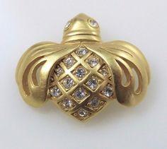 Swarovski Bee Petite Brooch Pin Signed Swan Logo Pave Crystals Gold Tone Vintage