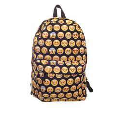 이모티콘 블랙 3D 인쇄 2016 고품질 여성 캔버스 배낭 웃는 학교 가방 청소년 여자 어깨 가방 Mochila
