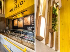 Madelo - Gran palma on Behance shopping center - kafe - Yogurt Cafe Interior, Shop Interior Design, Cafe Design, Retail Design, Store Design, Pizzeria Design, Restaurant Design, Wood Cafe, Frozen Yogurt Shop