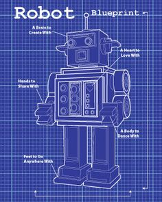 Lego blueprint graphics pinterest lego and room dark blue robot blueprint robot 8x10 art print by moderngenes 1500 malvernweather Choice Image