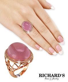 Rose quartz and diamond ring in 18k rose gold