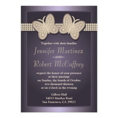 Purple Studded Butterfly Wedding Invitations
