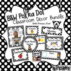 Black and White Polka Dot Classroom Decor, Primary Font, BundleThis bundle contains everything you need to set up your black and white polka dot, primary font classroom. I have created this set in a primary friendly font. Because the file is so large and it zipped together.Included:Classroom Labels and Signs - Labels to fit shoebox sized containersCalendar Set (Numbers, Month Signs, Yesterday was, etc.)Rules Bathroom PassesCenter Hanging SignsBlack and White Polka Dot BannersBlack and…