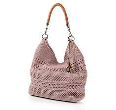 The Sak Crochet Knit Bucket Bag with Leather Shoulder Strap