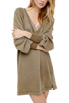 afe13d5baff Yidarton Women Ladies V Neck Long Sleeve Knit Pullover Sweater Mini Dress  Top Maxi Cardigan