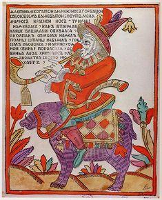 JUGLAR RUSO  Una rappresentazione del XVIII secolo di un giullare russo