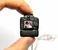 Personalized 8GB USB drive Nikon D90 Camera miniature necklace. $45.00, via Etsy.