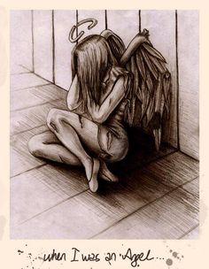 Broken down angel Angel Sketch, Angel Drawing, Sad Angel, Angel And Devil, Pencil Art Drawings, Cute Drawings, Fallen Angel Tattoo, Angels And Demons, Fallen Angels