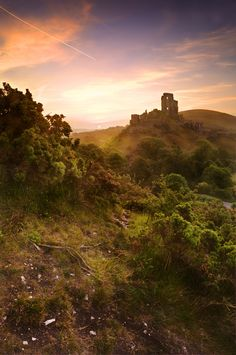 Picture of Beautiful dreamy fairytale castle ruins against romantic colorful sunrise coming out of pages in magical book creative concept stock photo, images and stock photography. I Love Books, Good Books, Fantasy, Magic Places, Corfe Castle, And So It Begins, Fairytale Castle, Castle Ruins, World Of Books