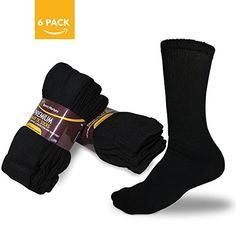 Born to Nurture - Men's Diabetic Socks Size 10-13 Crew Black for Comfort & Soothing Relief - 6-Pack - Brought to you by Avarsha.com
