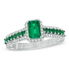 Emerald-Cut Lab-Created Emerald and 1/5 CT. T.W. Diamond Ring in 10K White Gold