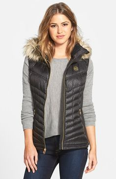 MICHAEL Michael Kors Embossed Down Vest with Detachable Faux Fur Trim Hood (Regular & Petite) available at #Nordstrom