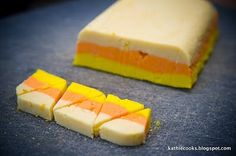 Candy corn cookies- just dye cookie dough each different color, stack, slice and bake!
