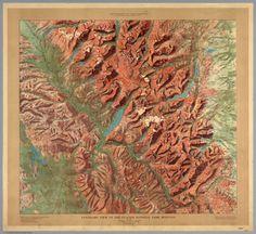 Glacier National Park Relief Map, Montana - 1910