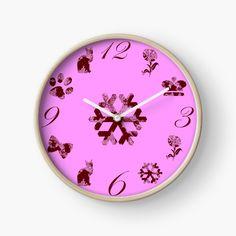 Schöne Muster für Kinder auf einer rosa Uhr. Ulysse 31, Bunt, Clock, Wall, Home Decor, Pink Watch, Cute Designs, Infant Girl Rooms, Beautiful Patterns