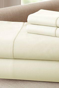 400 Thread Count Egyptian Cotton Single Hole Hem Sheet Set - Ivory