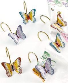 """Lenox """"Butterfly Meadow"""" Shower Curtain Hooks, Set of 12 - Lenox Butterfly Meadow - Dining & Entertaining - Macy's"""