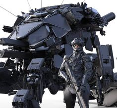 A scrapbook of cyberpunk visions to get you dreaming about the future to come. Futuristic Armour, Futuristic Art, Robot Concept Art, Weapon Concept Art, Mekka, Future Soldier, Sci Fi Weapons, Ex Machina, Robot Design