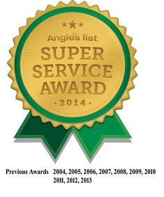 We are excited to announce that we have been awarded another Super Service Award from Angie's List for 2014. This award honors excellence among service providers who maintain a superior service record. The year 2014 is very special to us as it marked our 20th year serving Indiana.