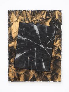 ROMAN LIŠKA Untitled - crease mesh piece, 2013 (synthetic mesh fabric, spraypaint, cling film, stretcher, metal beaded chain, metal eyelets, artist frame) on gold reflective fabric, spray paint, stretcher, artist frame. Spray Painting, Metal Beads, Mesh Fabric, Roman, Chain, Film, Artist, Inspiration, Movie
