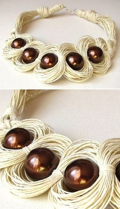 Jewelry designing tips: elements of design Knitted Necklace, Fabric Necklace, Leather Necklace, Diy Necklace, Necklace Designs, Textile Jewelry, Macrame Jewelry, Fabric Jewelry, Jewelry Crafts