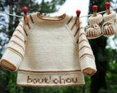 layette ensemble mérinos naissance-1 mois neuf tricoté main brassière et chaussons