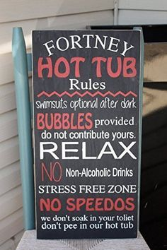 """Hot Tub Rules Wall Sign, Personalized, Wooden Sign, Hand Painted, Home Decor, Outdoor sign, pool sign, gift, outdoor decor, funny home accents 12x24"""" Made to order, just for you."""