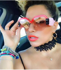 80cc36363a8 Sexy Rimless Oversized Sunglasses Women Vintage 2018 Red Pink Luxury Brand  Sun Glasses For Female Rivet Big Frame Male Shades Discount Sunglasses  Sports ...