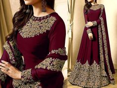Indian Embroidered Maroon Chiffon Maxi Dress For more details and real pictures visit: PakStyle. Pakistani Maxi Dresses, Pakistani Bridal Dresses Online, Chiffon Maxi Dress, Chiffon Fabric, Dresses Kids Girl, Diy Baby, Stylish Dresses, Suits For Women, Dress Collection