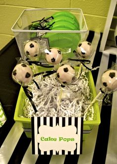 Cute cake pops at a Soccer party!  See more party ideas at CatchMyParty.com!
