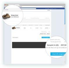 Hier sieht man den Warenkorb mit den hinzugefügten Produkten und dem Gesamtbetrag, übersichtlich und leicht zu navigieren.    Siehe hierzu auch www.zadego.de/commerce