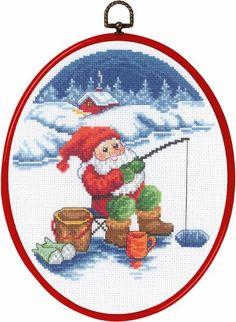 Pixie fishing From Permin of Copenhagen - Christmas - Cross-Stitch Kits Kits - Casa Cenina