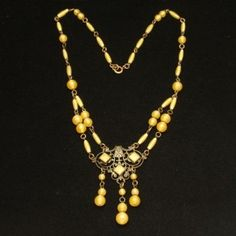Yellow Czech Glass Necklace Vintage