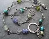 Silver ANKLET Ankle Bracelet Turquoise green teal blue Stamped sexy summer wire wrapped gemstones anklet ankle Charm Bracelet